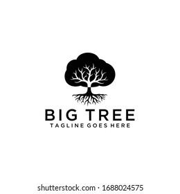 Illustration luxury Oak tree vintage sign logo design template