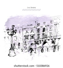 Illustration of Lvov, Ukraine. Old city view with cafe and street light