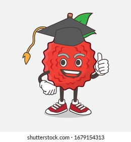 An illustration of Lychee Fruit cartoon mascot character in a black Graduation hat