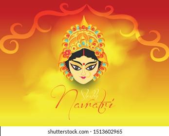 Illustration Of Ma Durga For Navratri Special, Beautiful Background Of Happy Navratri, Ma Durga Face  Vector.