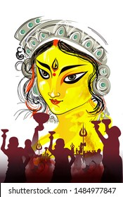 Illustration Of maa durga face Happy Navratri  Celebration Poster Or Banner Background.