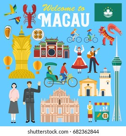 Illustration of Macau landmark and icons, Vector