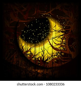Illustration of a magic crescent fallen in curly dark branches. Fireflies. Night.