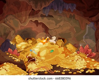 Illustration of a magic treasury cave