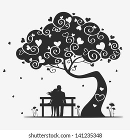 illustration magic tree with a pair of lovers