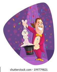 illustration of magician showing magic trick in vector