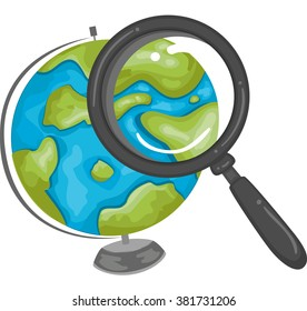 Illustration of a Magnifying Glass Searching a Location on the Globe