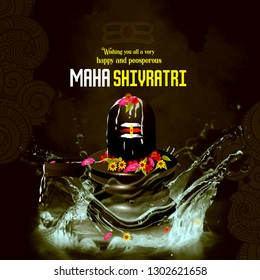 Illustration Of Maha Shivratri, a Hindu festival celebrated of lord shiva with water splash