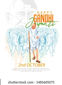 illustration of mahatma gandhi for Gandhi jayanti, great Indian freedom fighter who promoted non voilence