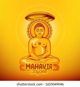 Illustration Of Mahavir Jayanti Celebration Background  with message in Hindi Mahavir Jayanti  meaning Its mahavir birthday