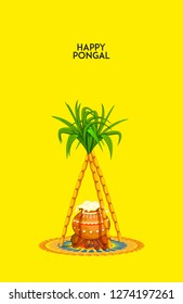 illustration of Makar Sankranti. festival of India. Happy Happy Pongal.