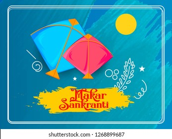 illustration of Makar Sankranti wallpaper with colorful kite for festival of India - Vector