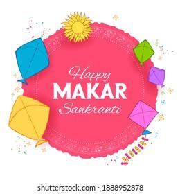 illustration of Makar Sankranti wallpaper with colorful kite for festival of India