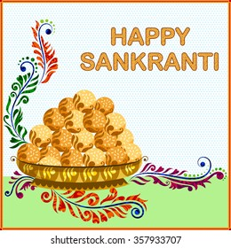 illustration of Makar Sankranti wallpaper with sweet laddu