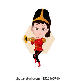 illustration of male character posing, playing a trumpet musical instrument with the uniform of a drum band member. Vector cartoons that can be used for caricature or mascot templates with plain backg