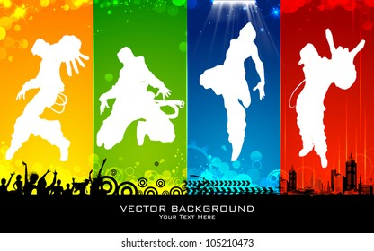 illustration of male dancing on abstract background