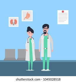 Illustration of male and female doctor's cartoon characters standing in hospital's corridor.