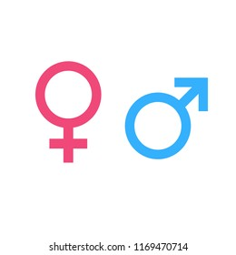 Illustration of male and female gender symbol in blue and pink color