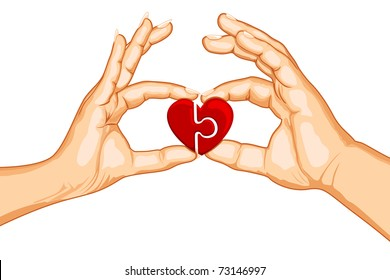 illustration of male and female handing joining puzzle pieces of heart on isolated background