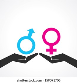 Illustration of male and female icon on hand