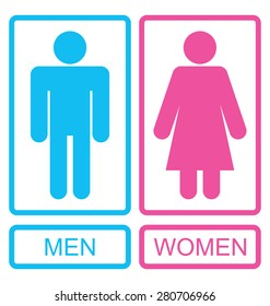 Illustration Male and Female Icons, Men and Women Signs - Vector