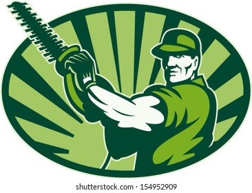 Illustration of male gardener landscaper horticulturist with hedge trimmer facing front done in retro style.