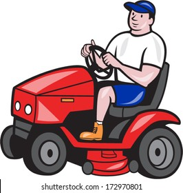 Illustration of male gardener riding mowing with ride-on lawn mower facing side done in cartoon style on isolated white background.
