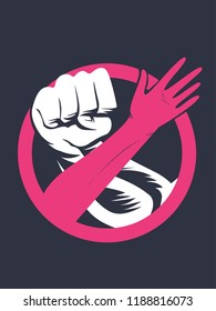 Illustration of a Male Hand Fist and Woman Forming Stop Sign. Domestic Violence Awareness