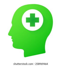 Illustration of a male head icon with a pharmacy sign