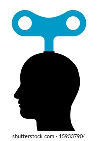 Illustration of a male head with a wind-up key protruding from the top depicting mechanical or manual power and energy, manipulation or control, or conceptual of inspiration and motivation