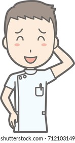 Illustration of a male nurse wearing a white coat with a smile