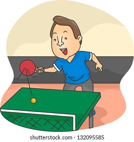 Illustration of Male Table Tennis Player in action