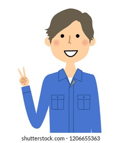 It is an illustration of a male worker who makes a V sign.
