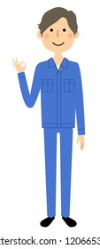 Illustration of a male worker who signs ok.