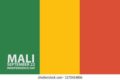 Illustration of Mali Flag for Independence Day of Mali written by text