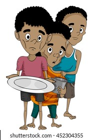 Illustration of Malnourished Boys Queuing for Food