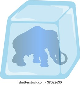 Illustration of Mammoth silhouette enclosed in Ice cube, vector