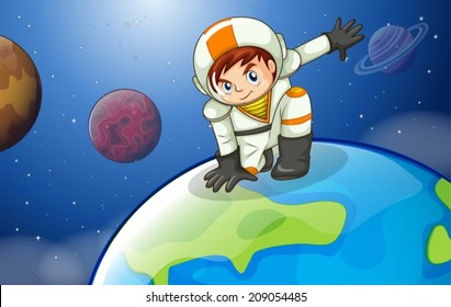 Illustration of a man above the Earth