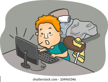 Illustration of a Man Addicted to Online Games