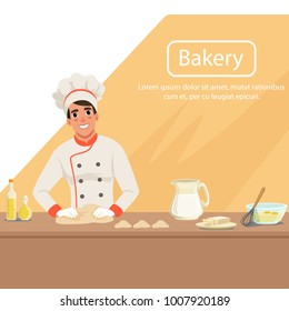Illustration with man baker character kneading dough on the table with products. Male in uniform, chef s hat and apron at work. Bakery shop background. Flat vector