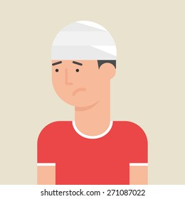 Illustration of a man with bandage on his head, flat style