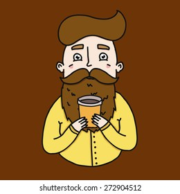 Illustration of a man with a beard and a glass