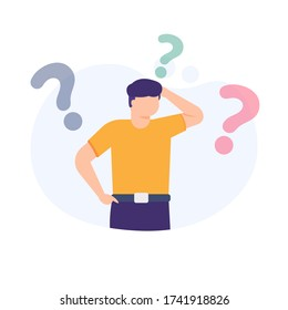 illustration of a man being confused and surrounded by question mark symbols. flat design. concept Frequently asked questions or FAQs, question marks around people, online support center.
