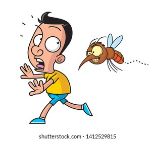 Illustration of a man being persecuted by a big mosquito