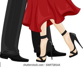 Illustration of a Man in Black Leather Shoes and a Woman Feet in High Heels Ballroom Dancing