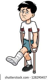 illustration of Man with a broken leg