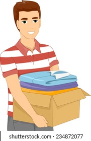 Illustration of a Man Carrying a Heavy Box Filled With Clothes