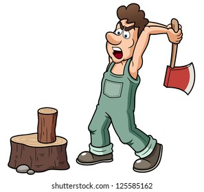 illustration of Man chopping wood