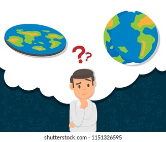 Illustration of man confused with flat or round earth theory