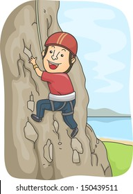 Illustration of a Man Dressed in Climbing Gear Scaling a Rocky Mountain